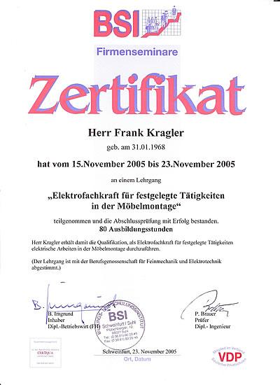 """BSI Zertifikat """"Elektrofachkraft für festgelegte Tätigkeiten in der Möbelmontage"""""""