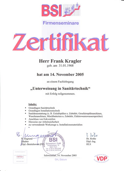 "BSI Zertifikat ""Unterweisung in Sanitärtechnik"""